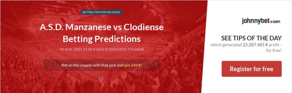 A.S.D. Manzanese vs Clodiense Betting Predictions