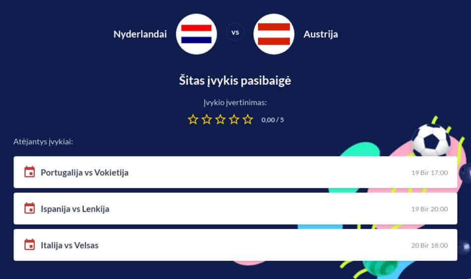 Nyderlandai - Austrija Tiesiogiai
