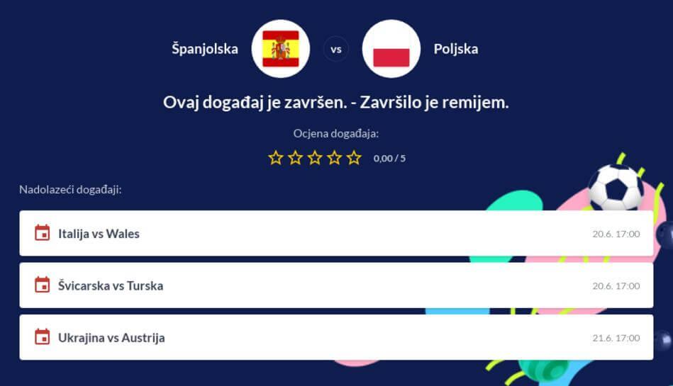 Španjolska - Poljska Kvote i Prijenos Uživo