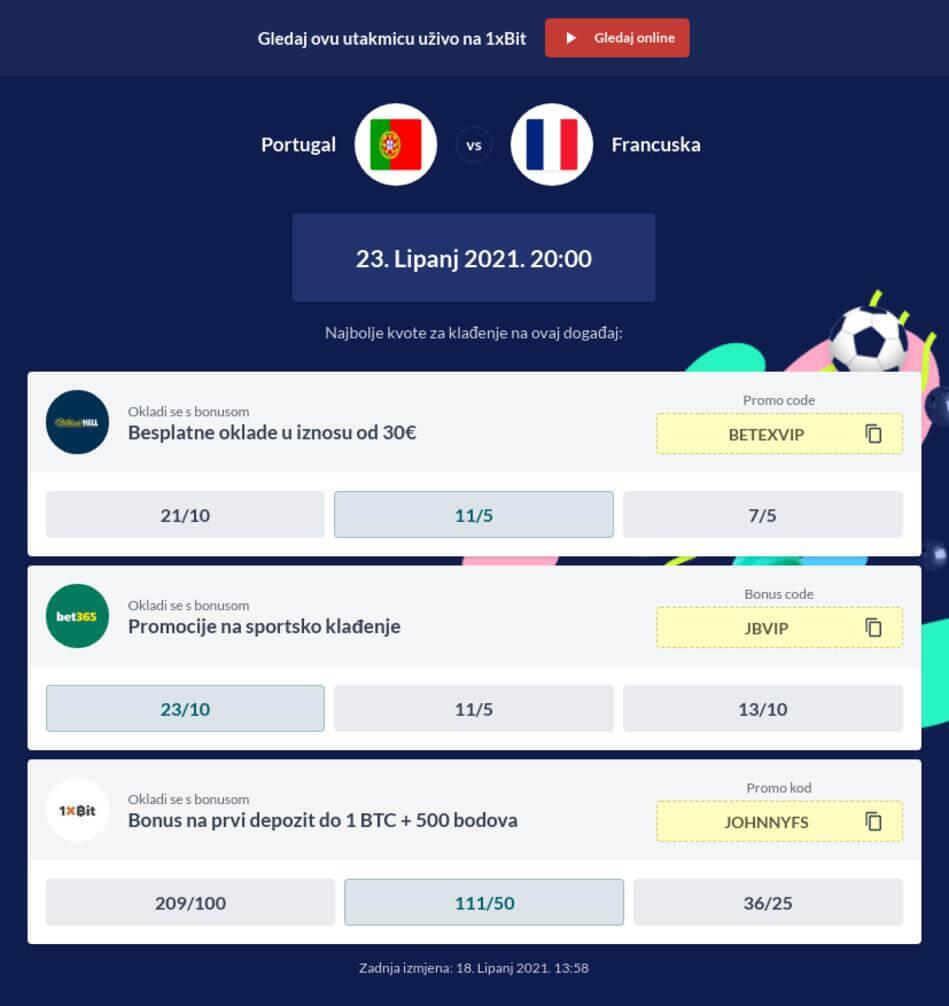 Portugal - Francuska Kvote i Prijenos Uživo