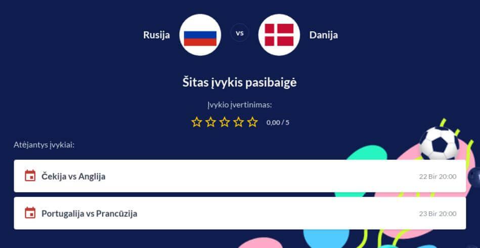 Rusija - Danija Tiesiogiai