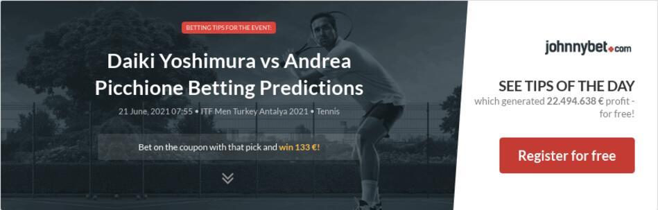 Daiki Yoshimura vs Andrea Picchione Betting Predictions