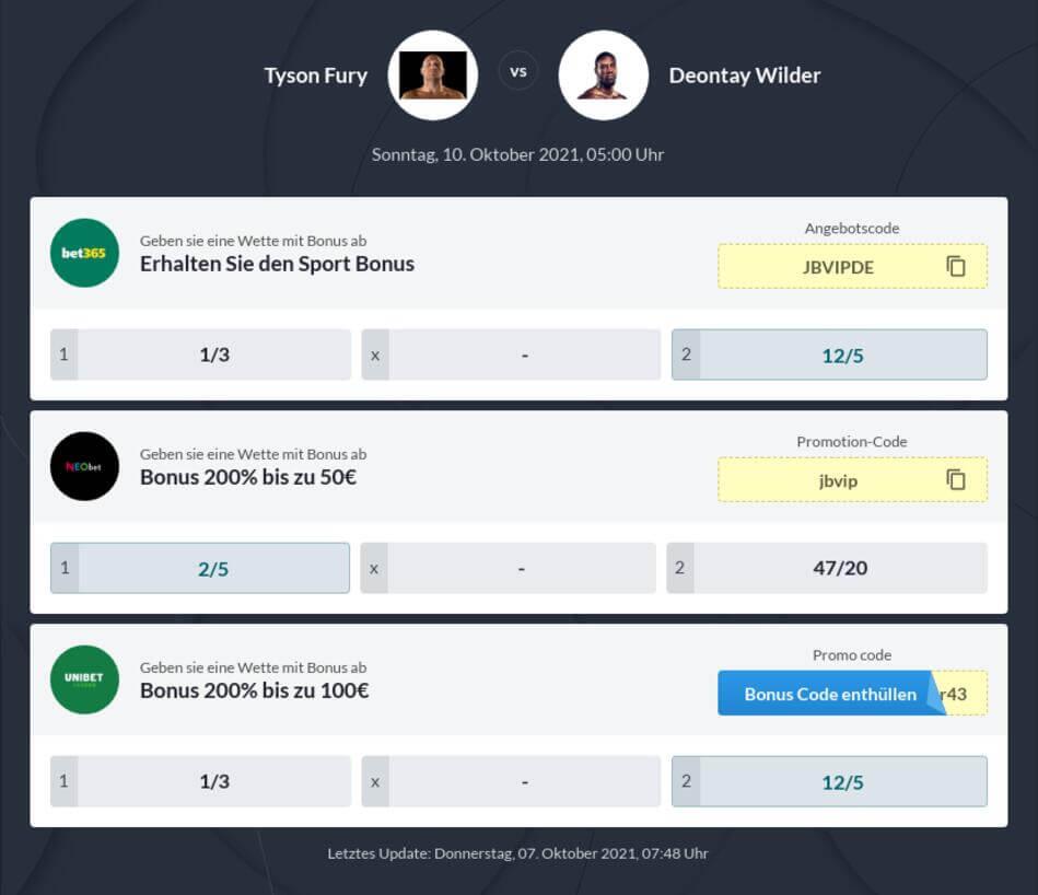 Fury vs Wilder Wettquoten