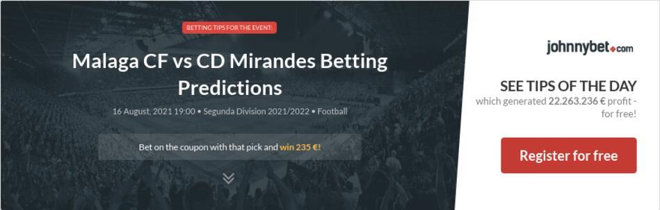 Malaga CF vs CD Mirandes Betting Predictions