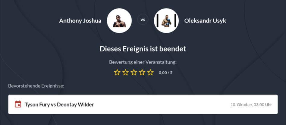 Joshua vs. Usyk Wettquoten