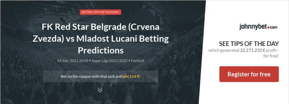 FK Red Star Belgrade (Crvena Zvezda) vs Mladost Lucani Betting Predictions