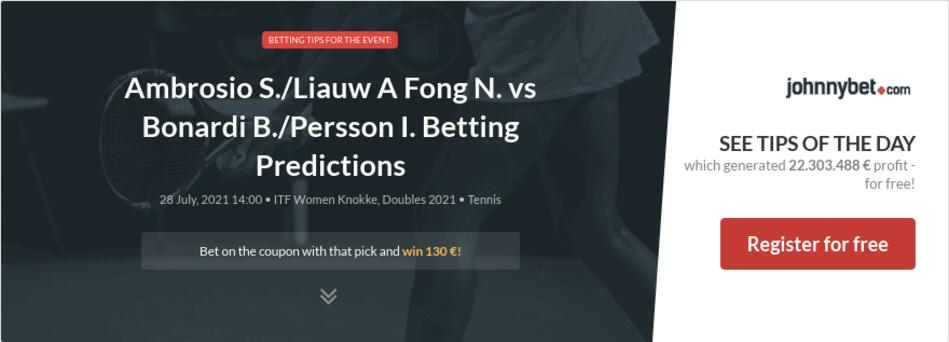 Ambrosio S./Liauw A Fong N. vs Bonardi B./Persson I. Betting Predictions