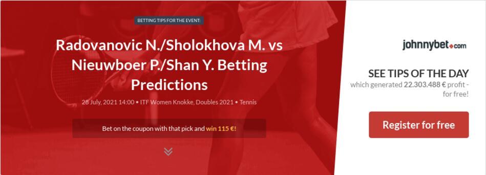 Radovanovic N./Sholokhova M. vs Nieuwboer P./Shan Y. Betting Predictions