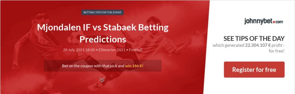 Mjondalen IF vs Stabaek Betting Predictions