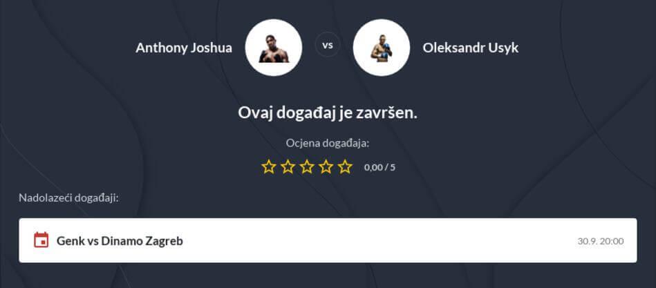 Joshua - Usyk kvote i prijenos uživo