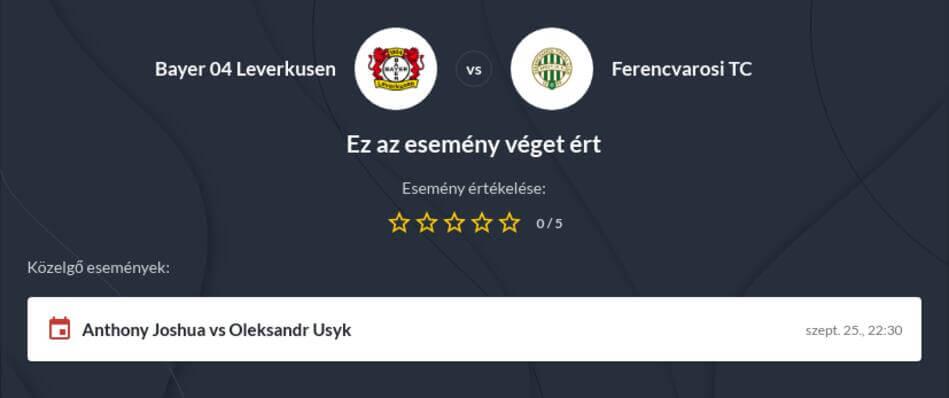 Leverkusen - Ferencváros fogadási tippek
