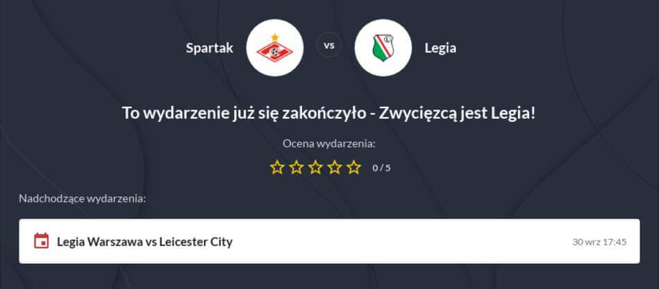 Legia - Spartak Moskwa Zakłady Bukmacherskie