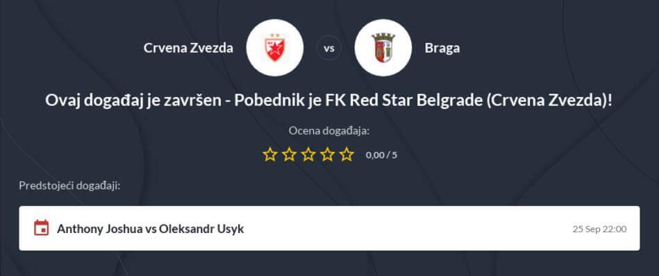 Crvena Zvezda - Braga Kvote i prenos uživo