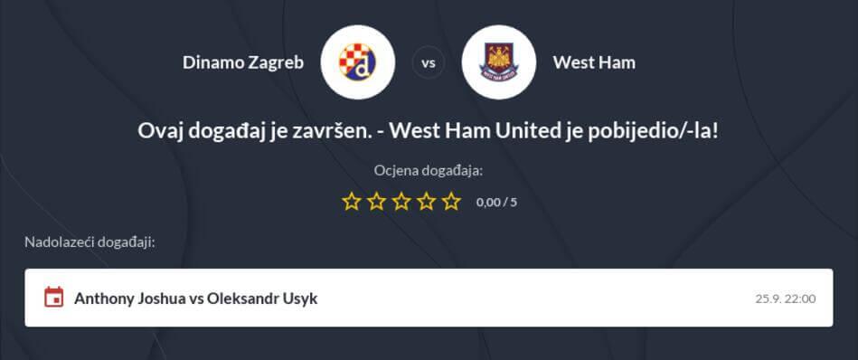 Dinamo Zagreb - West Ham Kvote i prijenos uživo