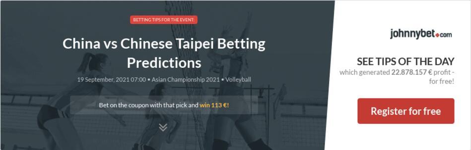 China vs Chinese Taipei Betting Predictions