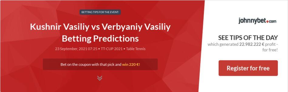 Kushnir Vasiliy vs Verbyaniy Vasiliy Betting Predictions