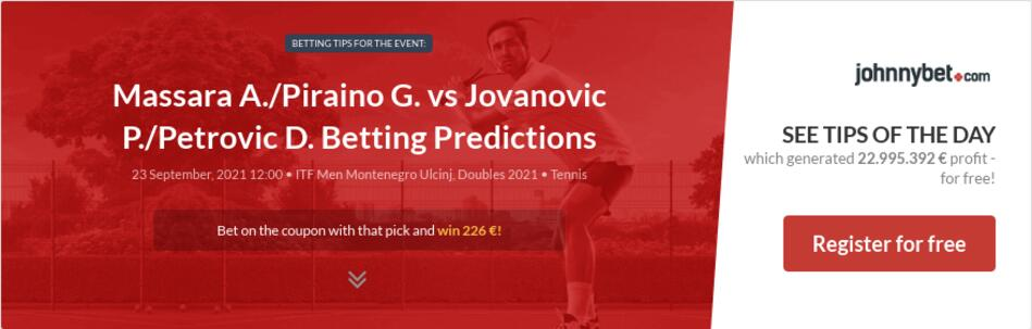 Massara A./Piraino G. vs Jovanovic P./Petrovic D. Betting Predictions