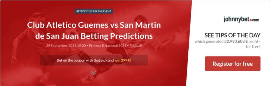 Club Atletico Guemes vs San Martin de San Juan Betting Predictions