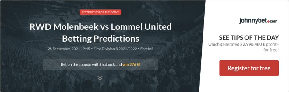 RWD Molenbeek vs Lommel United Betting Predictions