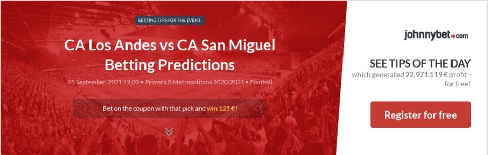 CA Los Andes vs CA San Miguel Betting Predictions