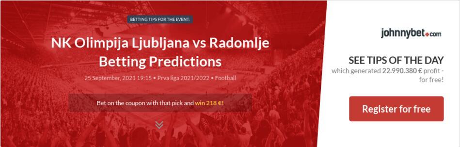 NK Olimpija Ljubljana vs Radomlje Betting Predictions