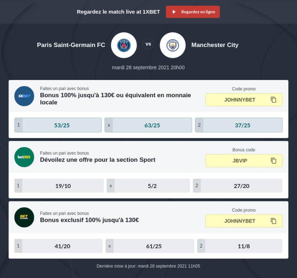 Pronostic PSG - Manchester City