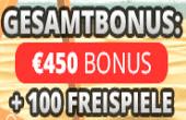Erhalten Sie den Bonus bis zu €450+ 100 Freispiele