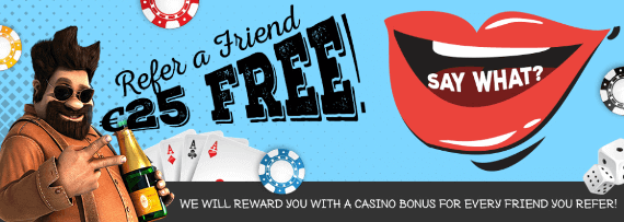Refer a Friend and get €25 free at Vegas Crest Casino bonus promotion online